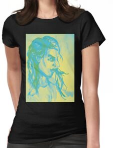 Colorful delicate watercolor portrait of girl Womens Fitted T-Shirt