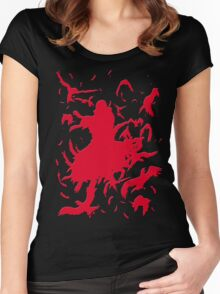Red Minimalist Women's Fitted Scoop T-Shirt