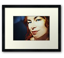 Portrait of redhead girl with blue eyes Framed Print