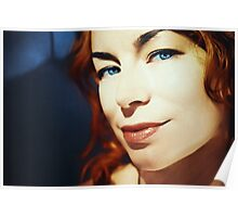 Portrait of redhead girl with blue eyes Poster