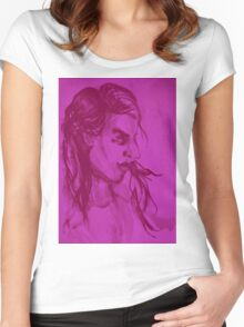 Colorful delicate watercolor portrait of girl Women's Fitted Scoop T-Shirt