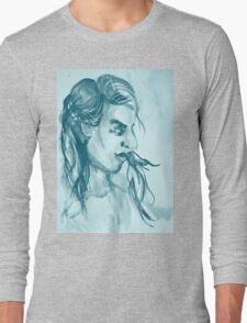 Colorful delicate watercolor portrait of girl Long Sleeve T-Shirt