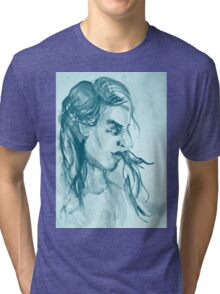 Colorful delicate watercolor portrait of girl Tri-blend T-Shirt