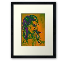 Colorful delicate watercolor portrait of girl Framed Print