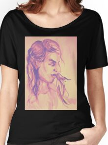 Colorful delicate watercolor portrait of girl Women's Relaxed Fit T-Shirt