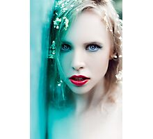 blonde woman with flowers Photographic Print