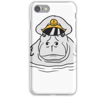 kapitän matrose chef boss mannschaft captain mütze nilpferd dick wasser schwimmen groß see tümpel comic cartoon  iPhone Case/Skin