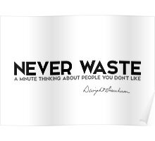 never waste a minute thinking about people you don't like -  eisenhower Poster