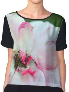 Natural background with pink roses and green leaves. Chiffon Top