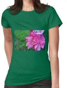 Natural background with pink roses and green leaves. Womens Fitted T-Shirt