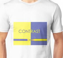 Word CONTRAST written over Yellow and Violet coloured paper Unisex T-Shirt