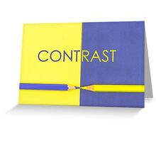 Word CONTRAST written over Yellow and Violet coloured paper Greeting Card