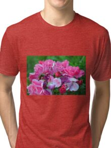 Natural background with pink roses and green leaves. Tri-blend T-Shirt