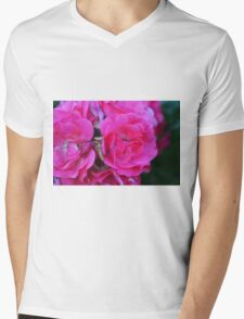 Natural background with pink roses and green leaves. Mens V-Neck T-Shirt