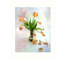 Colorful Tulips in an Antique Silver Pot Art Print