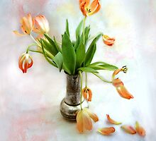 Colorful Tulips in an Antique Silver Pot by LouiseK