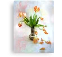 Colorful Tulips in an Antique Silver Pot Canvas Print