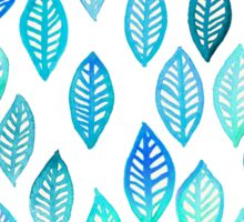Watercolor Leaf Pattern in Blue & Turquoise Sticker