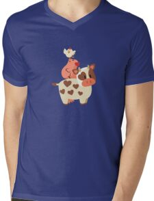 Happy Cow, Pig, and Chicken Mens V-Neck T-Shirt