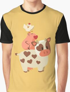 Happy Cow, Pig, and Chicken Graphic T-Shirt