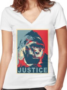 justice for harambe Women's Fitted V-Neck T-Shirt