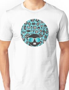 Robots faces blue Unisex T-Shirt