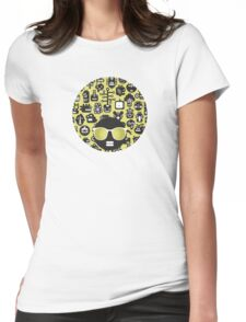 Robots faces green Womens Fitted T-Shirt