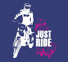 Just Ride- Motorcycle Rider Girl - White Print Unisex T-Shirt