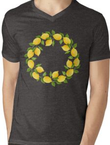Watercolor Lemon Pattern Mens V-Neck T-Shirt
