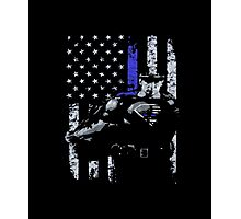 Blue lives matter Thin Blue Line Shirt Support Police Photographic Print