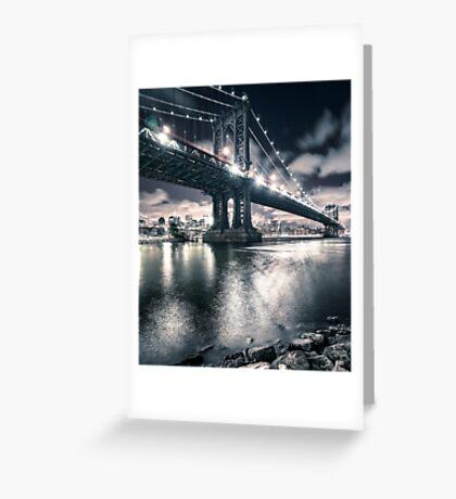manhattan bridge on the night Greeting Card