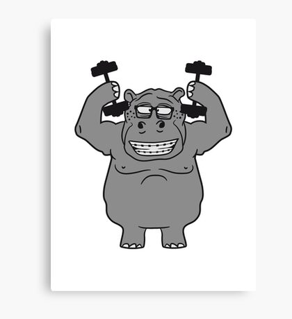 hanteln stark muskeln bodybuilding nerd geek trainieren lustiges süßes niedliches dickes comic cartoon nilpferd fett hippo  Canvas Print