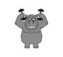 hanteln stark muskeln bodybuilding nerd geek trainieren lustiges süßes niedliches dickes comic cartoon nilpferd fett hippo  Photographic Print
