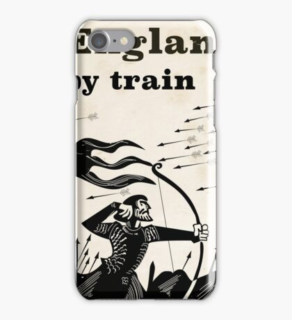 England By train vintage travel poster  iPhone Case/Skin