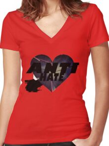 Anti-Hate Women's Fitted V-Neck T-Shirt