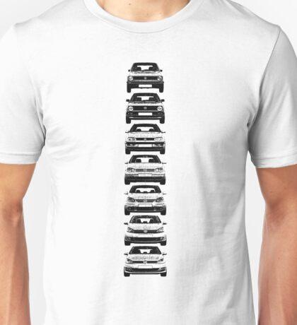 VW Golf MK1 - MK7 Full Unisex T-Shirt