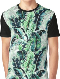 Watercolor Tropical Banana Palm Leaf Pattern Graphic T-Shirt