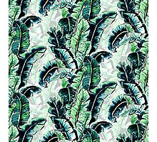 Watercolor Tropical Banana Palm Leaf Pattern Photographic Print