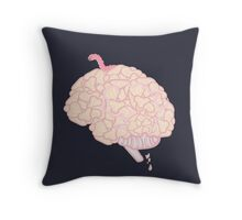 Brain with worm.  Throw Pillow