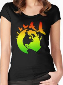 Mother Earth Birds (rasta colors) Women's Fitted Scoop T-Shirt