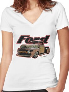 Ford Ratty Pickup Truck T-Shirt Women's Fitted V-Neck T-Shirt