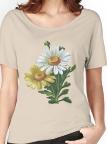 White and yellow mums - acrylic Women's Relaxed Fit T-Shirt