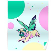butterfly pug Poster