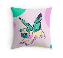 butterfly pug Throw Pillow