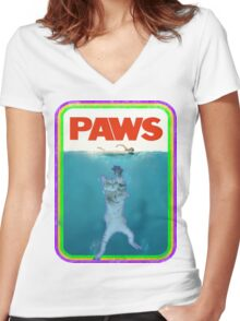 Paws Jaws Movie parody T Shirt Women's Fitted V-Neck T-Shirt