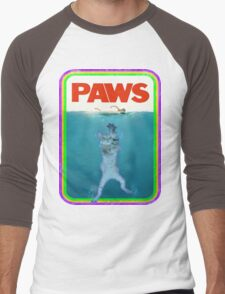 Paws Jaws Movie parody T Shirt Men's Baseball ¾ T-Shirt