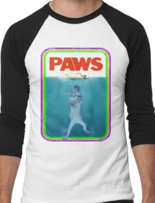 Paws Jaws Movie parody T Shirt Men's Baseball ¾ T-Shirt