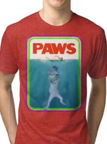 Paws Jaws Movie parody T Shirt Tri-blend T-Shirt