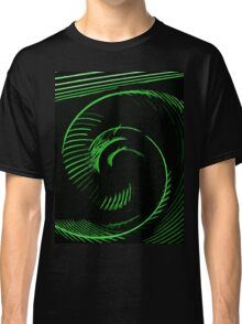 Green spiral, abstraction, visual, optical illusion Classic T-Shirt