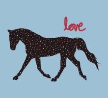 Cute Horse, Hearts and Love One Piece - Short Sleeve